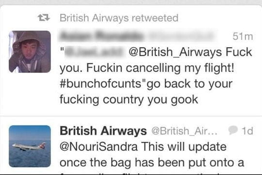 British Airways Twitter retweet