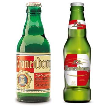 la bouteille kronenbourg de1947 et la bouteille actuelle.