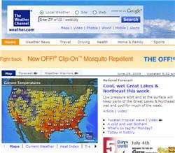page d'accueil du site weather.com.