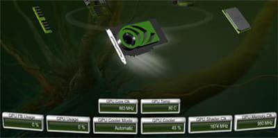 l'outil de contrôle de nvidia : température de la carte à 80 °c avec le