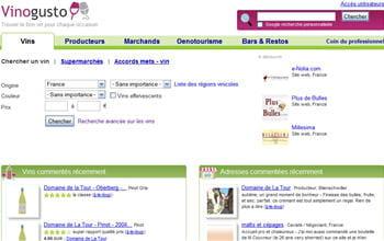 la page d'accueil de vinogusto
