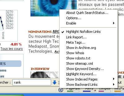 un clic droit sur la barre searchstatus donne accés àde très nombreuses