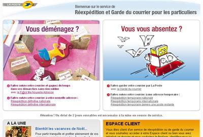 copie d'écran du site reexpedition.laposte.fr