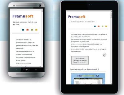 figure 9-5 le site http://www.framasoft.net affiché sur deux types de
