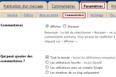 copie d'écran du sous-menu 'commentaires' sous blogger.