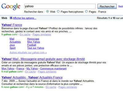résultats de google pour la requête 'yahoo'