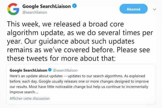 Google: la March 2019Core Update inverse en partie les effets de la Medic Update