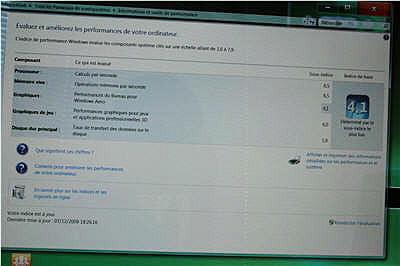 le centre de contrôle des performances de windows 7 pour l'aspire z5610.