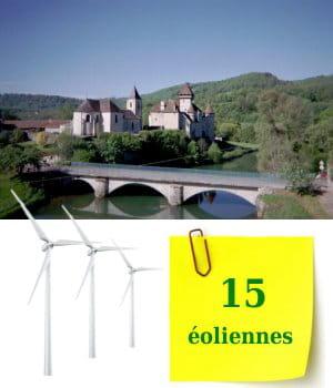la franche-comté compte15éoliennes sur ses terres.