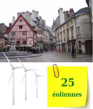 vingt-cinq éoliennes sont installées enbourgogne au 1er janvier 2010.