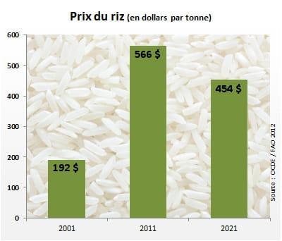 le prix duriz atteindra 454dollars par tonne en 2021