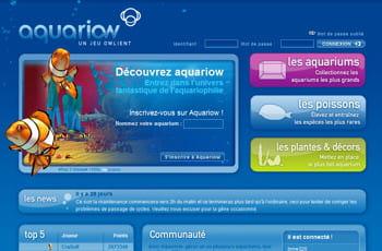 la page d'accueil d'aquariow, l'un des jeux d'owlient