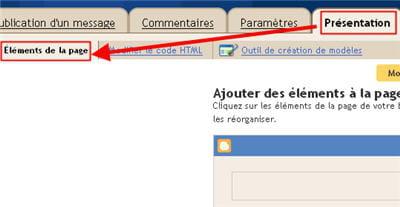 copie d'écran du menu 'présentation' > 'éléments de la page' sous blogger.