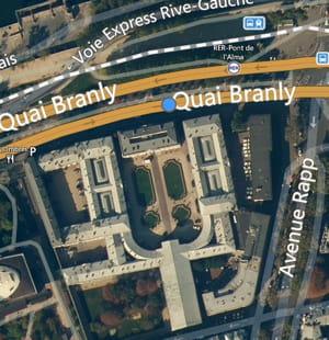 une vue aérienne du palais de l'alma,situé à parisau 11, quai branly.