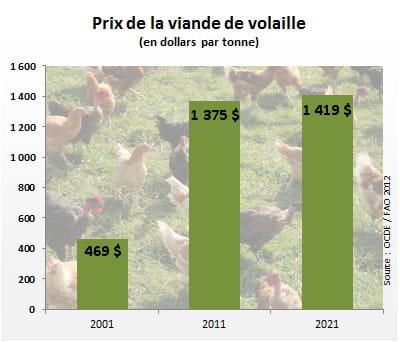 le prix de la viande de volailleatteindra 1419 dollars par tonne en 2021