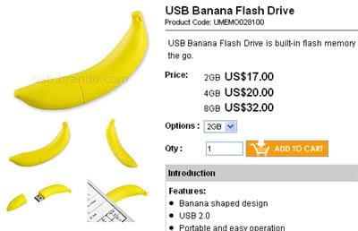 la clé usb en forme de banane.