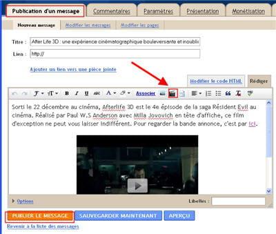 copie d'écran de l'interface de publication du contenu de blogger.