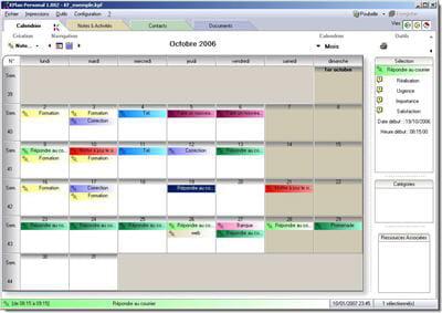 la gestion des contacts et du calendrier sous kplan