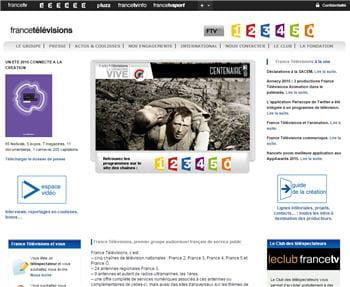 page d'accueil du site de france télévisions, qui fait partie des pages dont la