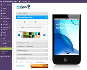 l'outil de personnalisation de wiziapp est intégré à wordpress.