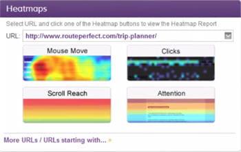 les différentes heatmaps proposées par clicktaleen fonction des mouvements de