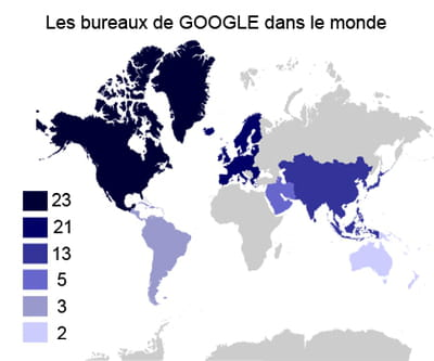 nombre de bureaux de google sur chaque continent.