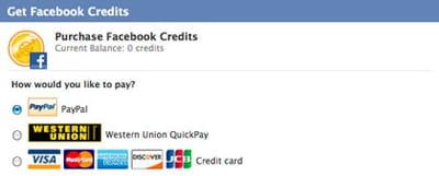 les facebook credits peuvent s'acheter, ou 'être gagnés' en participant à des