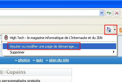 l'option correspondante sur internet explorer.