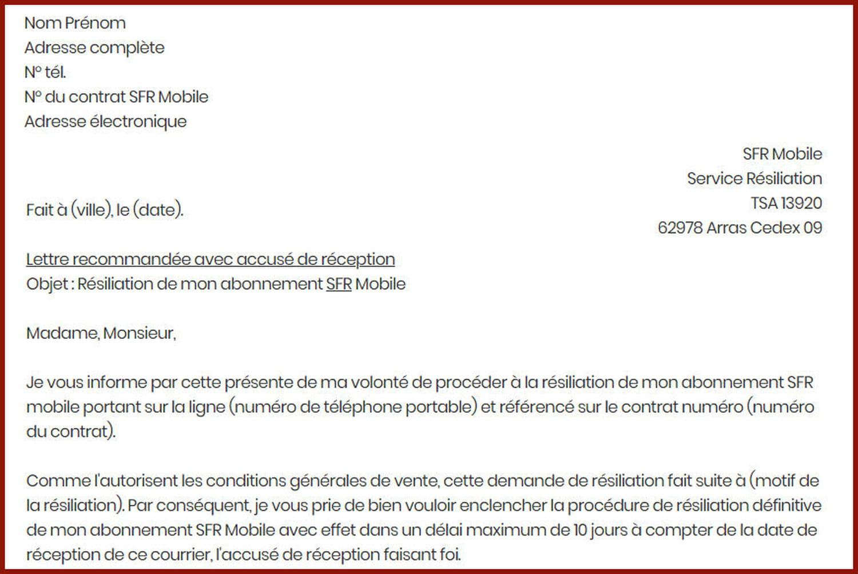 Lettre de résiliation à SFR mobile pour rompre son contrat