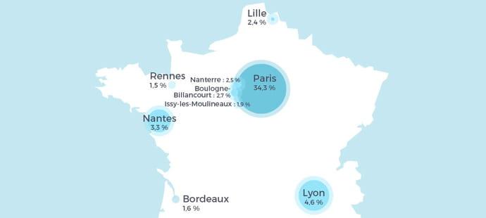 Carte: les villes où l'on recrute le plus de professionnels de l'IoT