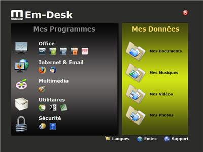 page d'accueil du bureau mobile