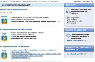 extrait des fiches conseils présentes dans l'intranet manager