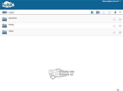 l'interface du service de stockage en ligne hubic est austère mais sa prise en