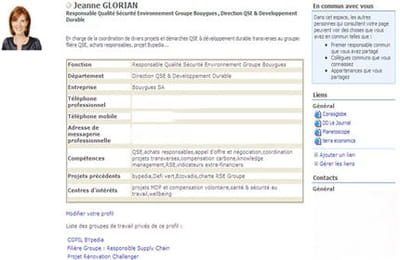 la fiche profil du réseau social interne de bouygues permet d'indiquer et