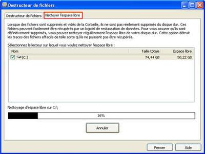 l'outil nettoyage de disque de l'option destructeur de fichiers de glary