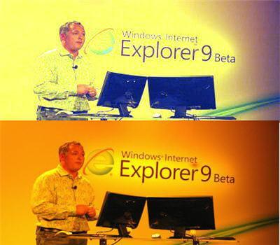 en bas, la photo originale : les blancs sont jaunes. en haut : après le filtre :
