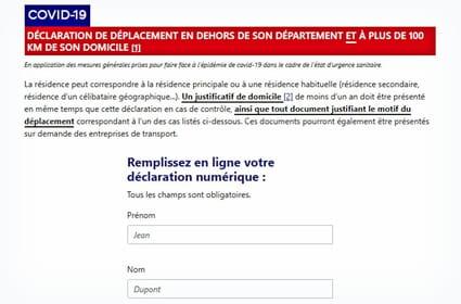 Attestation 100km: téléchargez ou générez la déclaration de déplacement