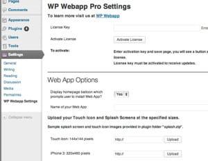 wp webapp installe une interface de paramétrage dans wordpress.