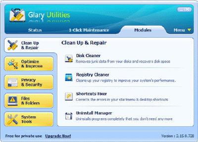copie d'écran du logiciel sur le site de glarysoft