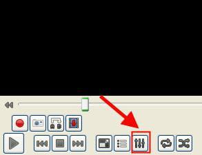 le bouton options avancées de vlc