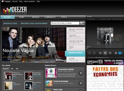 ancienne page d'accueil de deezer