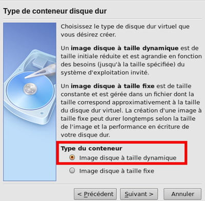 image disque dynamique - virtualbox