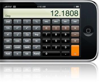 en position verticale, l'écran du téléphone se mue en calculatrice scientifique