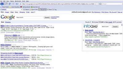 a gauche : les résultats google classiques et à droites : les résultats