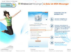 la page d'accueil du téléchargement de windows live messenger 2009