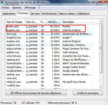 la consommation mémoire des deux navigateurs au démarragesous windows vista 32