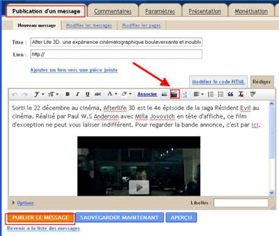 copie d'écran de l'interface de publication du contenu de blogger.