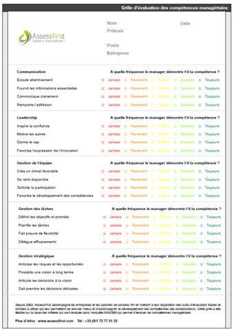 Grille valuation des comp tences manag riales mod le - Grille d evaluation pour recrutement ...