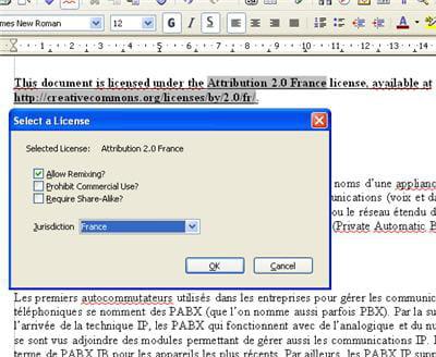 la licence peut être reliée à la juridiction française.