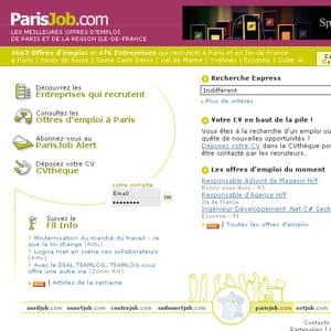 une capture d'écran du site parisjob.com.